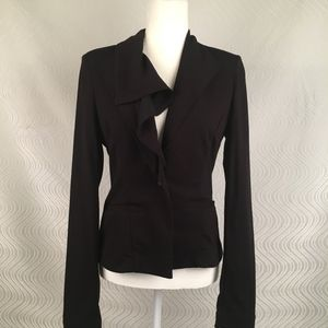 CAbi Absolute Black Blazer with Ruffle, Small